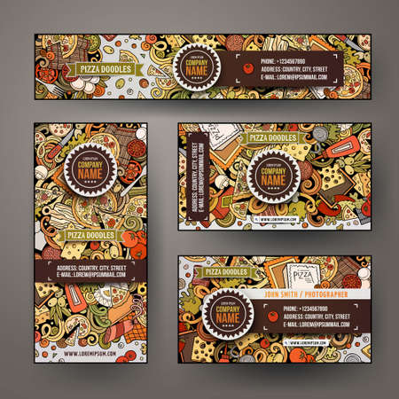 Corporate Identity vector templates set design with doodles hand drawn Pizza theme. Colorful banner, id cards, flayer design. Templates set Ilustrace