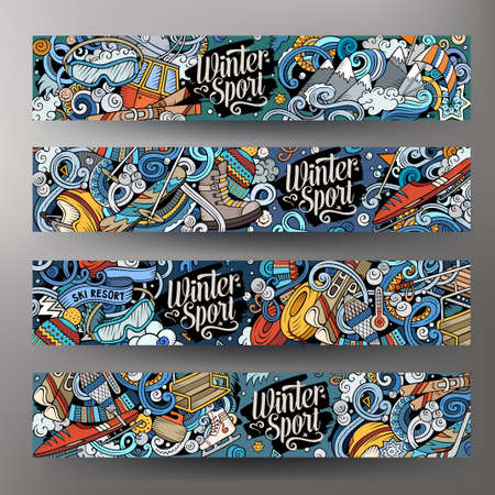 Winter sport hand drawn doodle banners. Cartoon detailed flyer. Cold activities identity with objects and symbols. Ski resort illustrations. Color vector design elements background