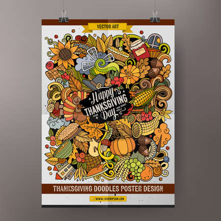 Cartoon colorful hand drawn doodles Happy Thanksgiving poster template. Very detailed, with lots of objects illustration. Funny vector artwork
