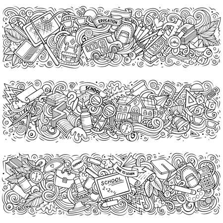 Cartoon cute colorful vector hand drawn doodles School compositions. 3 horizontal banners design. Templates set. All objects separate