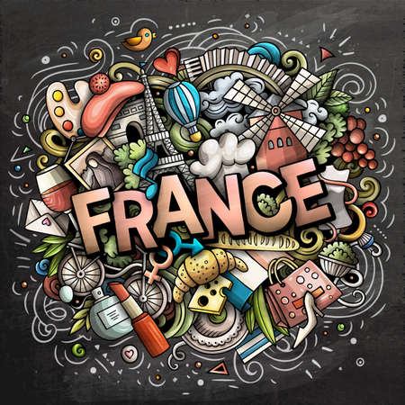 France hand drawn cartoon doodles illustration. Funny travel design. Creative art vector background. Handwritten text with French symbols, elements and objects. Colorful composition Иллюстрация