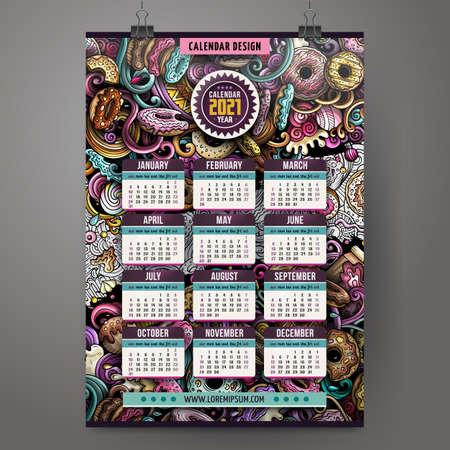Cartoon doodles Donuts 2021 year calendar template. English, Sunday start