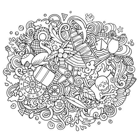 Bahamas Summer hand drawn cartoon doodles illustration. Funny travel design.