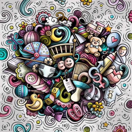 Baby hand drawn cartoon doodles illustration. Vector background. Иллюстрация