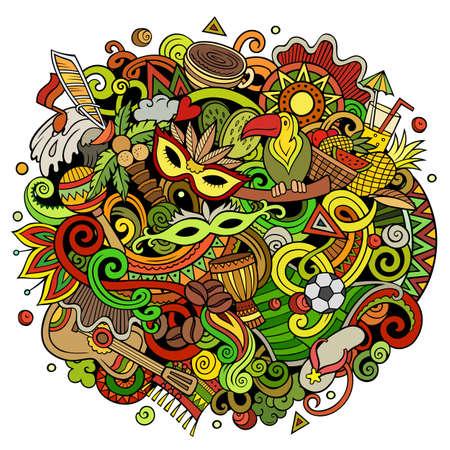 Brazil hand drawn cartoon doodles illustration. Funny design. Vettoriali