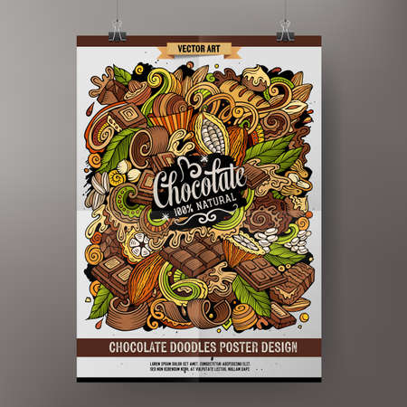 Cartoon colorful hand drawn doodles Chocolate poster