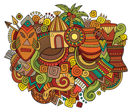 Africa hand drawn cartoon doodles illustration. Funny travel design. Creative art vector background. African symbols, elements and objects. Colorful composition