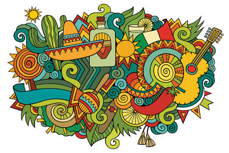 Mexico hand drawn cartoon doodles illustration. Funny travel design. Creative art vector background. Mexican symbols, elements and objects. Colorful composition
