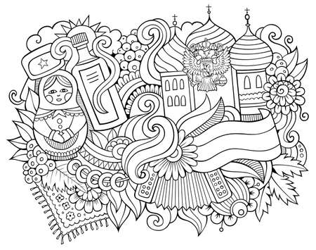 Russia hand drawn cartoon doodles illustration. Funny travel design. Creative art vector background. Russian symbols, elements and objects. Sketchy composition