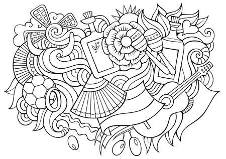 Spain hand drawn cartoon doodles illustration. Funny travel design. Creative art vector background. Spanish symbols, elements and objects. Sketchy composition