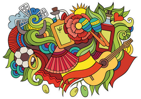 Spain hand drawn cartoon doodles illustration. Funny travel design. Creative art vector background. Spanish symbols, elements and objects. Colorful composition Иллюстрация