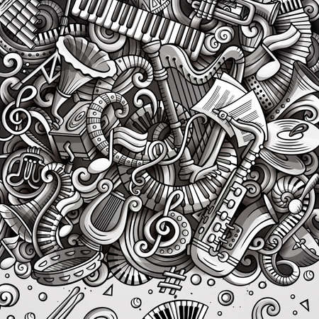 Cartoon vector doodles Classic music frame. Graphic, detailed, with lots of objects background. All objects separate. Monochrome musical funny border Vetores