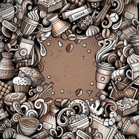 Cartoon vector doodles Coffee frame. Graphic, detailed, with lots of objects background. All objects separate. Cafe funny border