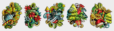 New Year cartoon vector doodle designs set. Colorful detailed compositions with lot of holidays objects and symbols. Isolated on white illustrations. Merry Christmas banner
