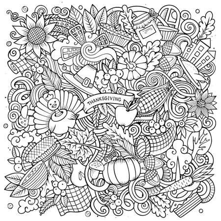 Cartoon vector doodles Happy Thanksgiving Day illustration