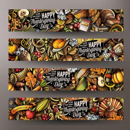 Thanksgiving day doodle banners design. Cartoon background. Harvest flyers templates. Color vector celebration illustrations