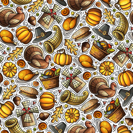 Cartoon cute hand drawn Thanksgiving seamless pattern. Colorful detailed, with lots of objects background. Endless funny vector illustration. Bright colors backdrop with autumn items.