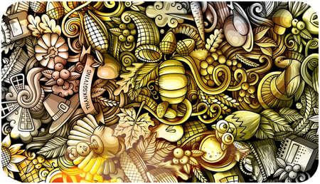 Thanksgiving day doodle banner design. Cartoon background. Harvest flyer template. Monochrome vector celebration illustration