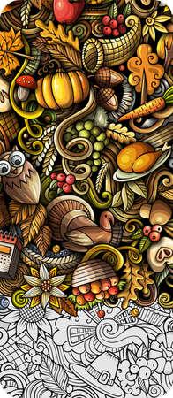 Thanksgiving day doodle banner design. Cartoon background. Harvest flyer template. Color vector celebration illustration