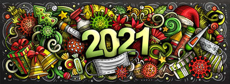 2021 Cartoon cute doodles New Year and Coronavirus illustration. Colorful detailed, with lots of objects background. All objects separate. Greeting card with Christmas and Covid symbols and items