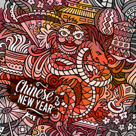 Chinese New Year hand drawn vector doodles illustration. China poster design. Funny elements and objects cartoon background. Bright colors picture 일러스트