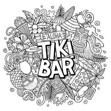 Tiki Bar hand drawn cartoon doodle illustration. Funny Hawaiian design
