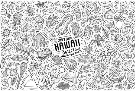 Vector doodle cartoon set of Hawaii objects and symbols