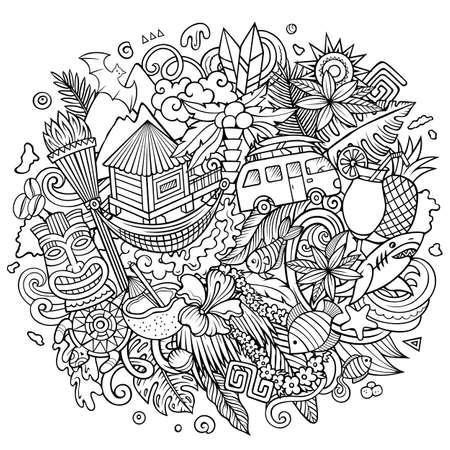 Hawaii hand drawn cartoon doodle illustration.