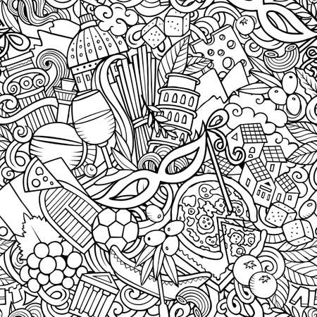 Cartoon doodles Italy seamless pattern.