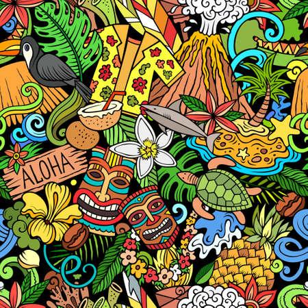 Cartoon doodles Hawaii seamless pattern.