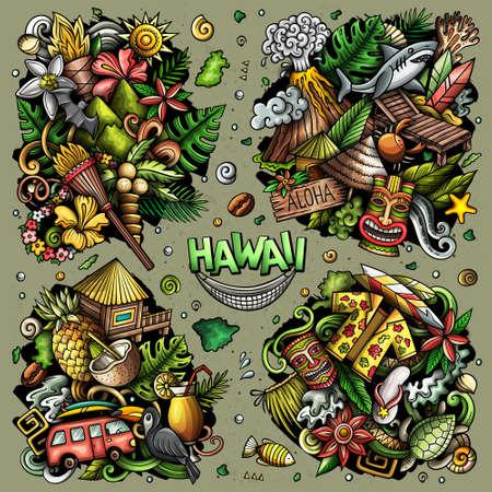 Hawaii cartoon vector doodle designs set. Иллюстрация