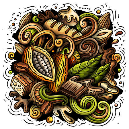 Chocolate hand drawn vector doodles illustration.