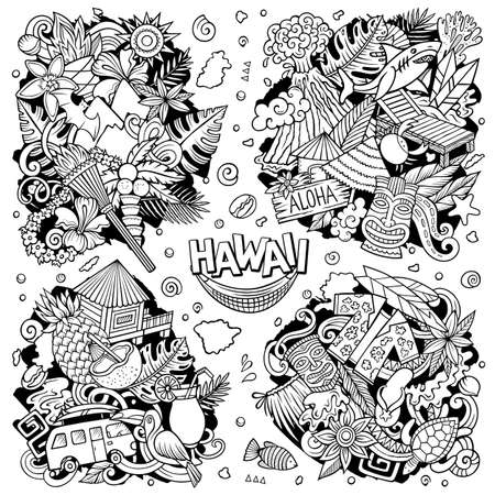 Hawaii cartoon vector doodle designs set. Line art detailed compositions with lot of Hawaiian objects and symbols. All items are separate Иллюстрация