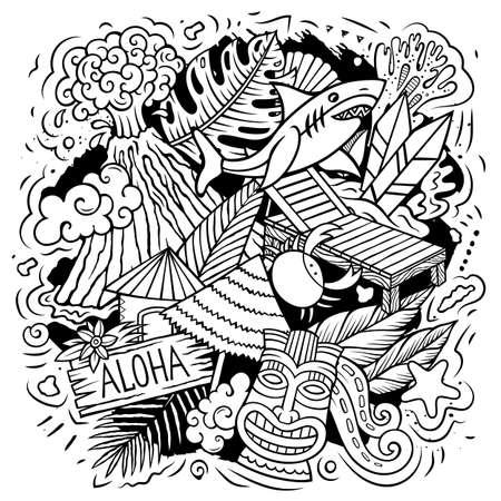 Hawaii cartoon vector doodle design