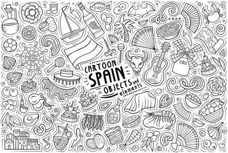 Line art vector hand drawn doodle cartoon set of Spain theme items, objects and symbols Иллюстрация