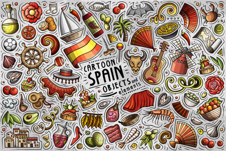 Colorful vector hand drawn doodle cartoon set of Spain theme items, objects and symbols Иллюстрация