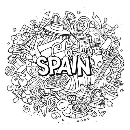 Spain hand drawn cartoon doodle illustration. Funny Spanish design. Creative art vector background. Handwritten text with elements and objects. Line art composition Иллюстрация