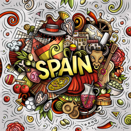 Spain hand drawn cartoon doodle illustration. Funny Spanish design. Creative art vector background. Handwritten text with elements and objects. Colorful composition Иллюстрация