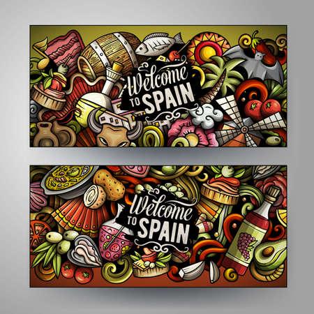 Cartoon cute colorful vector doodles Spain corporate identity. 2 horizontal banners design. Templates set Иллюстрация