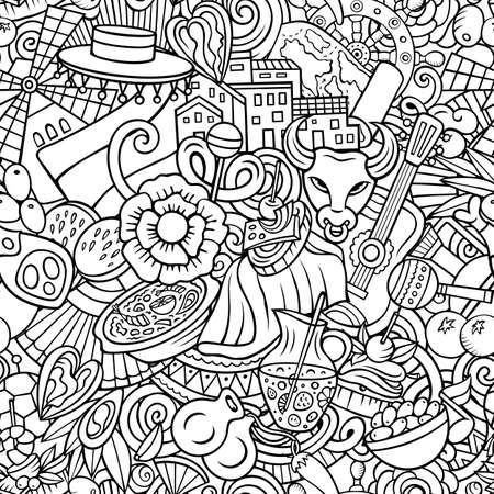 Cartoon doodles Spain seamless pattern. Backdrop with Spanish culture symbols and items. Line art detailed background for print on fabric, textile, wrapping paper. All objects separate. Иллюстрация