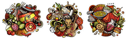 Spain cartoon vector doodle designs set. Colorful detailed compositions with lot of Spanish objects and symbols. Isolated on white illustrations