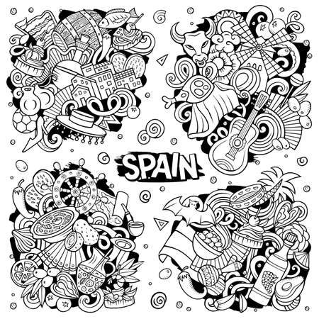 Spain cartoon vector doodle designs set. Line art detailed compositions with lot of Spanish objects and symbols. All items are separate