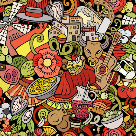 Cartoon doodles Spain seamless pattern. Backdrop with Spanish culture symbols and items. Colorful detailed background for print on fabric, textile, wrapping paper. All objects separate. Иллюстрация
