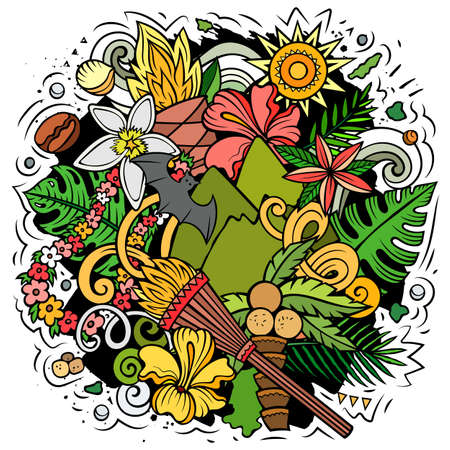 Hawaii cartoon vector doodle design. Colorful detailed composition with lot of Hawaiian objects and symbols. All items are separate