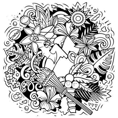 Hawaii cartoon vector doodle design. Line art detailed composition with lot of Hawaiian objects and symbols. All items are separate Иллюстрация