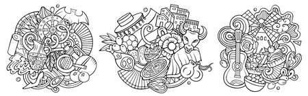 Spain cartoon vector doodle designs set. Line art detailed compositions with lot of Spanish objects and symbols. Isolated on white illustrations