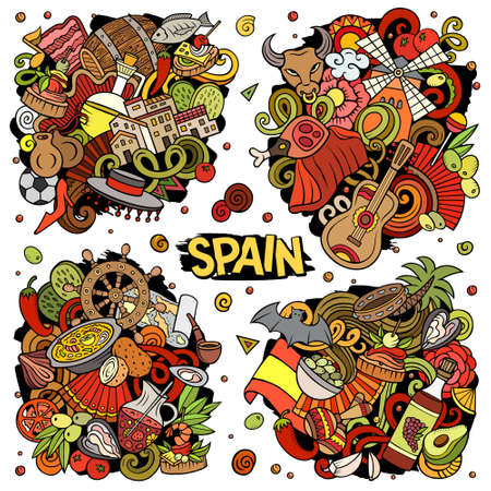 Spain cartoon vector doodle designs set. Colorful detailed compositions with lot of Spanish objects and symbols. All items are separate Иллюстрация