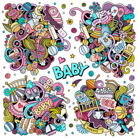 Baby cartoon vector doodle designs set. Colorful detailed compositions with lot of children objects and symbols. All items are separate