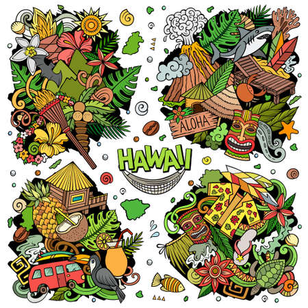 Hawaii cartoon vector doodle designs set. Colorful detailed compositions with lot of Hawaiian objects and symbols. All items are separate Иллюстрация