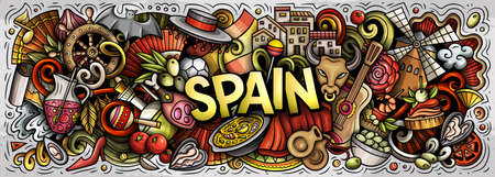 Spain hand drawn cartoon doodles illustration. Spanish funny objects and elements poster design. Creative art background. Colorful vector banner Иллюстрация